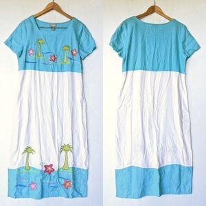 VINTAGE Aloha Hawaiian Linen Blend Summer Dress